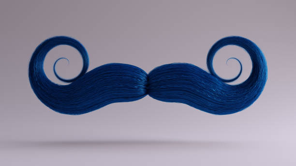 Big Blue Bushy Movember Mustache Big Blue Bushy Movember Mustache 3d illustration 3d render mustache stock pictures, royalty-free photos & images