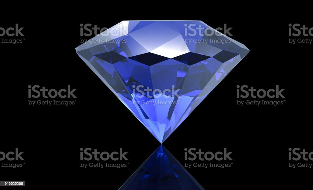 Big blue diamond isolated on black background stock photo