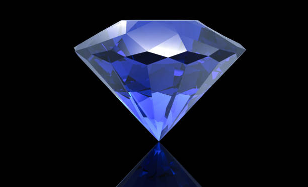 big blue diamond isolated on black background - sapphire gemstone stock photos and pictures