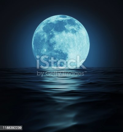 Big blue moon reflected in dark wavy water surface. 3D illustration