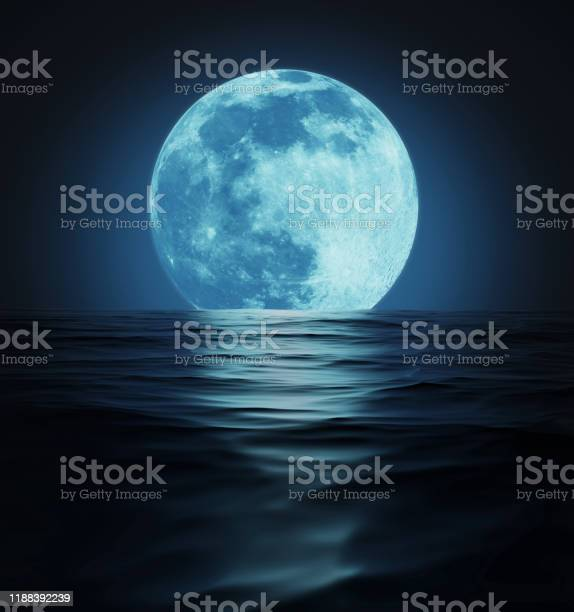 Photo of Big Blue Moon Reflected in Dark Water Surface