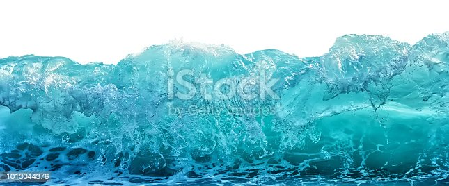 Big blue stormy sea wave isolated on white background. Climate nature concept. Front view.