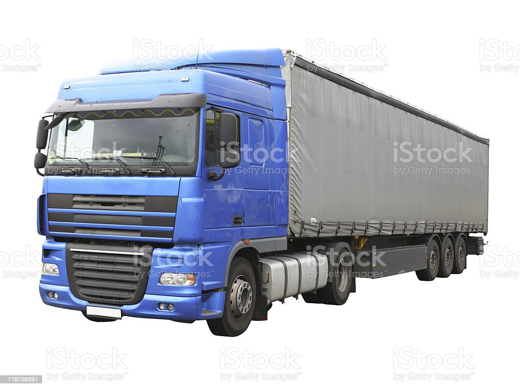 Big blue  truck. Isolated over white. royalty-free stock photo