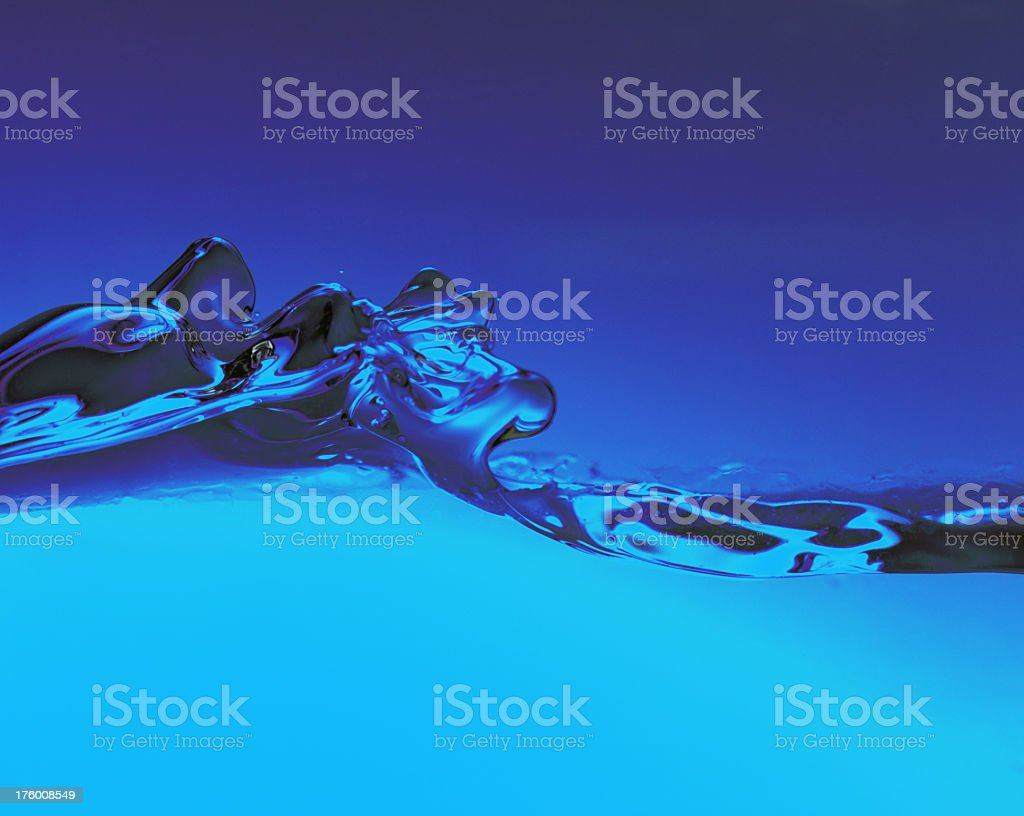 Big blue water splash royalty-free stock photo