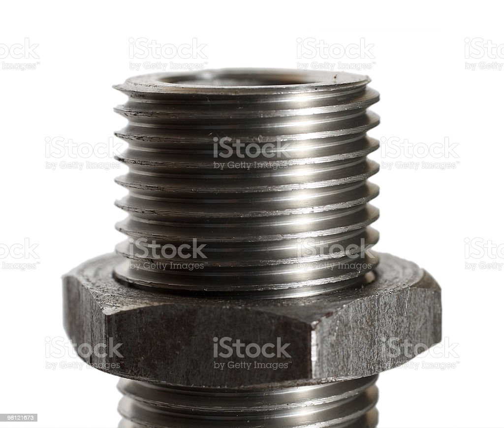 big bolt with nut close-up royalty-free stock photo