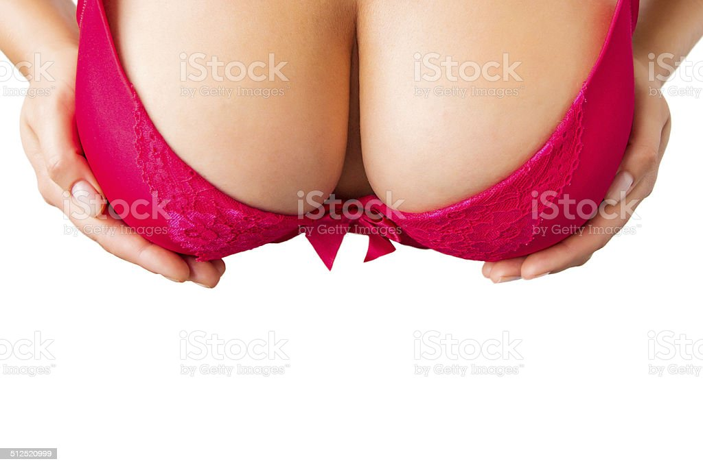 Big boobies and nice cleavage view from above stock photo
