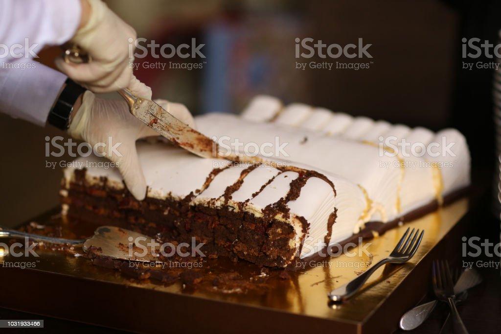 Enjoyable Big Book Shape Birthday Cake With Cook Hands Stock Photo Personalised Birthday Cards Xaembasilily Jamesorg