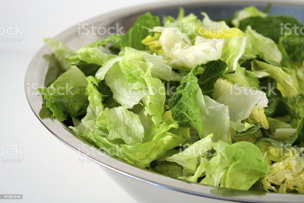 Big Bowl of Fresh Lettuce stock photo