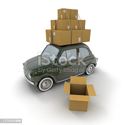 3D rendering of a small retro car carrying lots of boxes on the roof