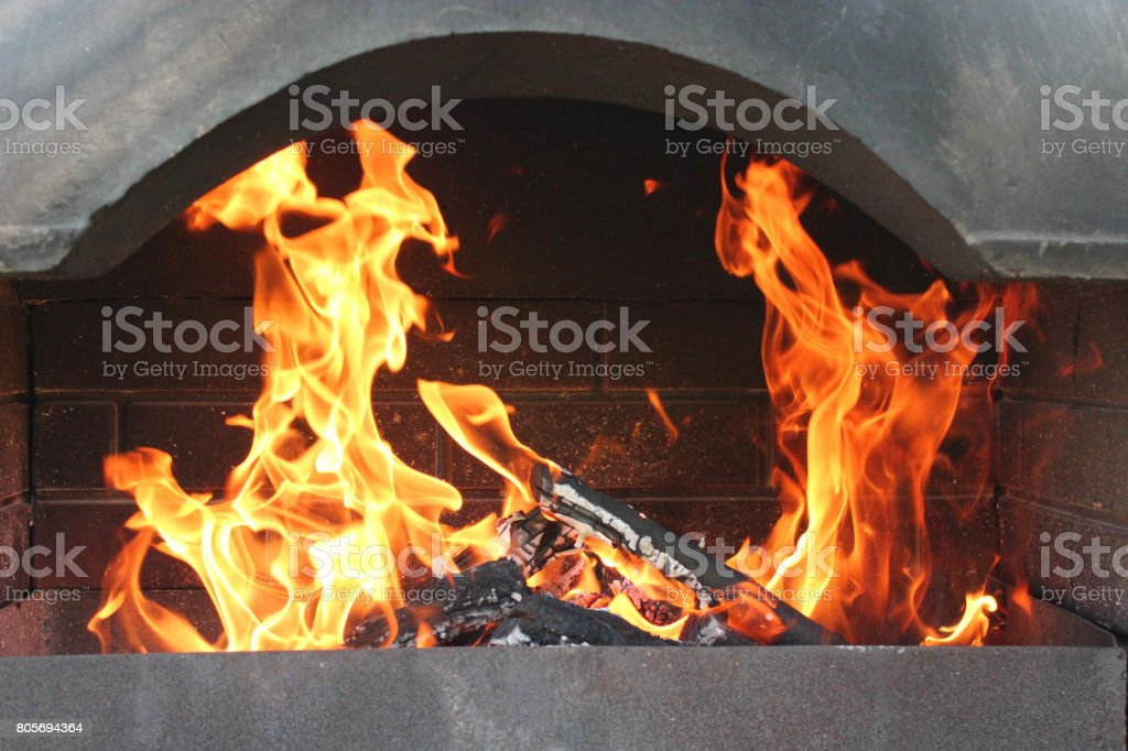 big brazier with burning fire stock photo