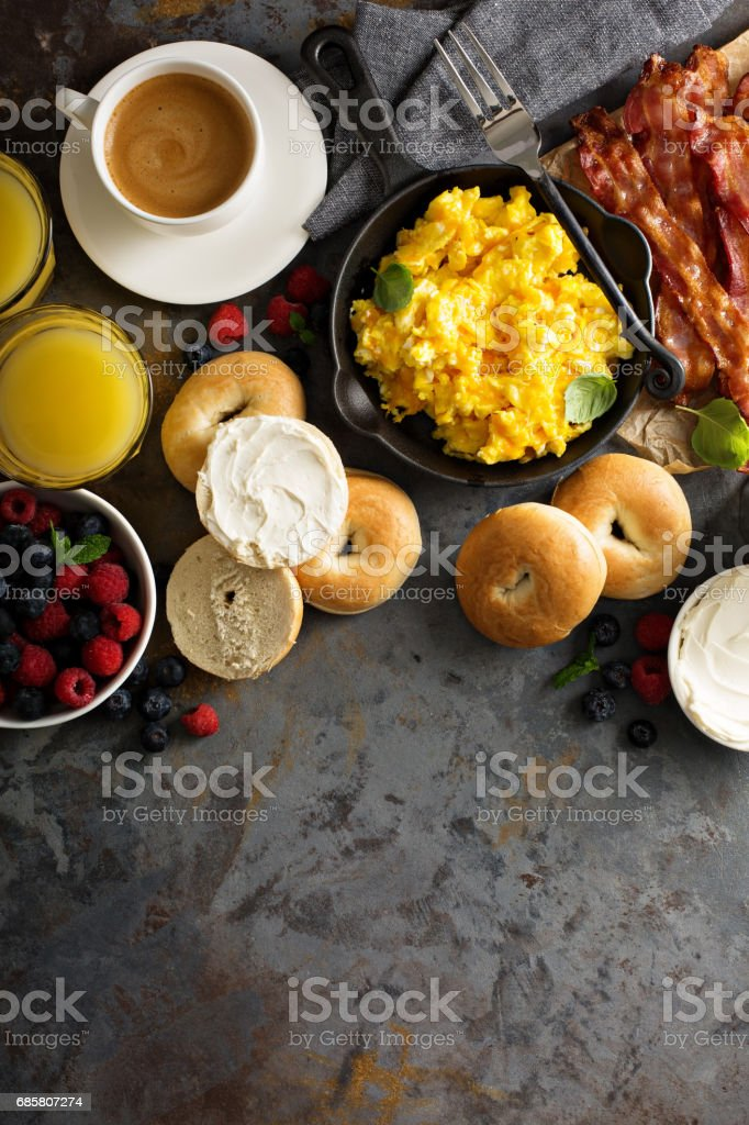 Big breakfast with bacon and scrambled eggs stock photo