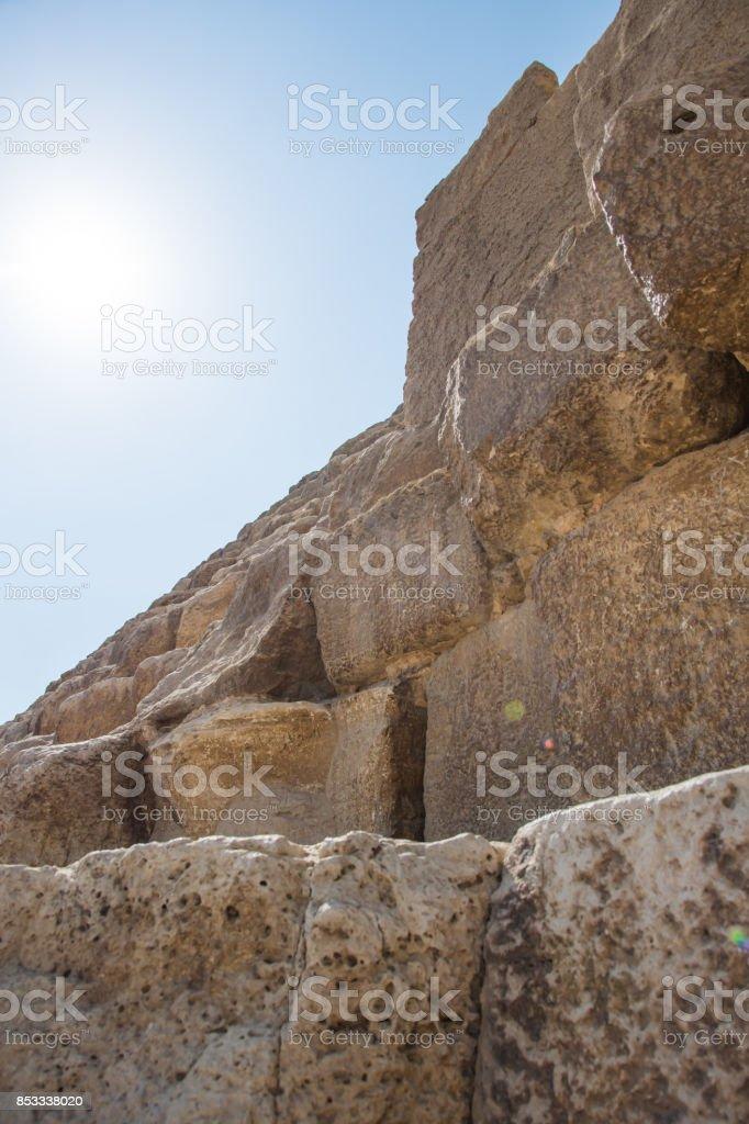 big bricks of the Pyramids of Giza stock photo