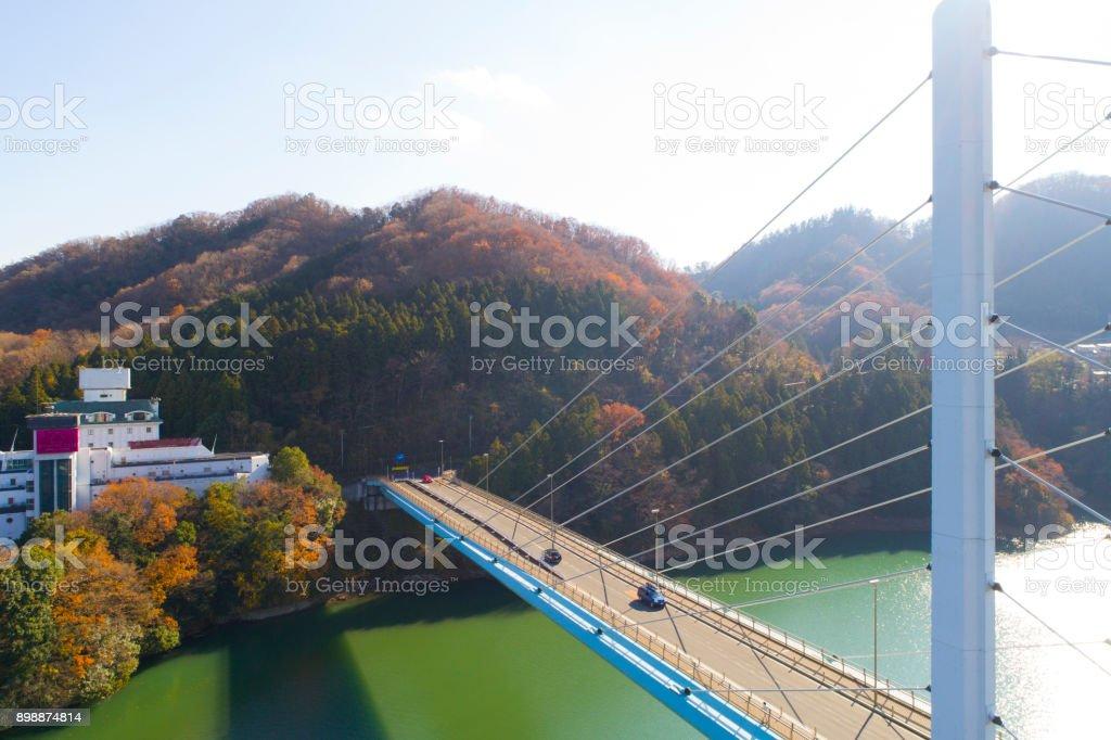 A big bridge over the mountain. stock photo