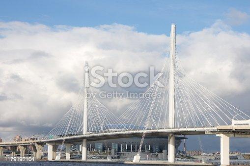 Big bridge over the river in autumn day