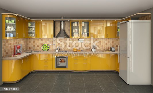 istock big bright kitchen with oven and refrigerator, 3d illustration 696939000