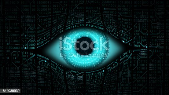 istock Big brother electronic eye concept, technologies for the global surveillance, security of computer systems and networks 844038932