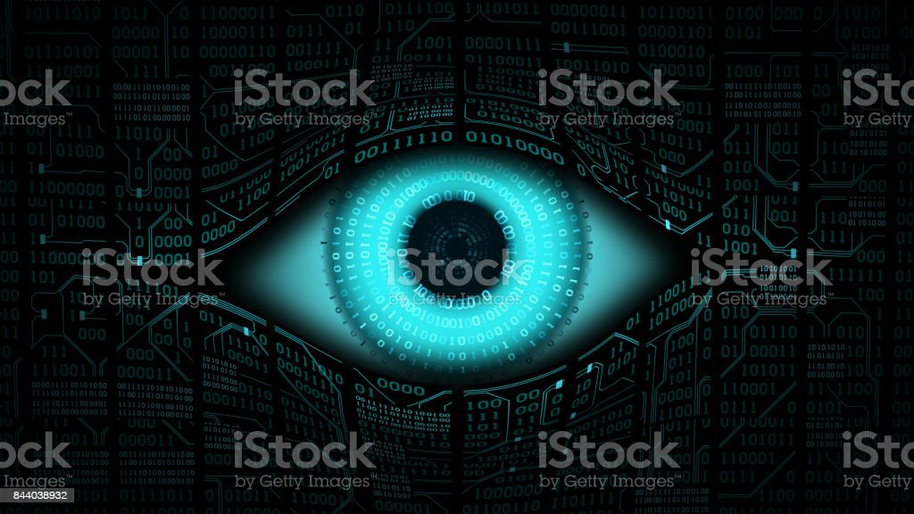 Big brother electronic eye concept, technologies for the global surveillance, security of computer systems and networks stock photo