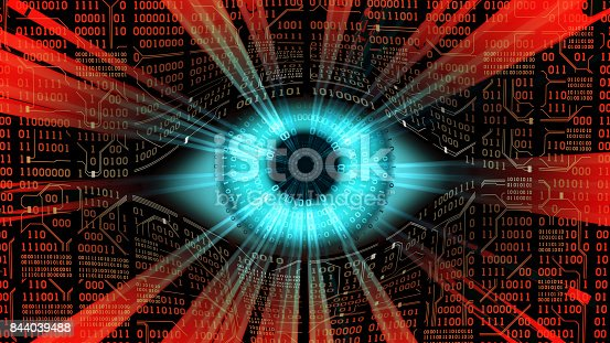 istock Big brother electronic eye concept, technologies for the global surveillance, security of computer systems and networks 844039488