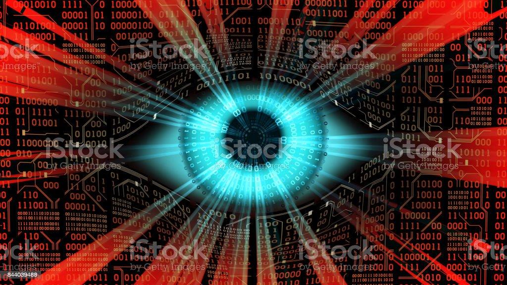 Irmão mais velho conceito de olho eletrônico, tecnologias para a vigilância global, segurança de redes e sistemas informáticos - foto de acervo