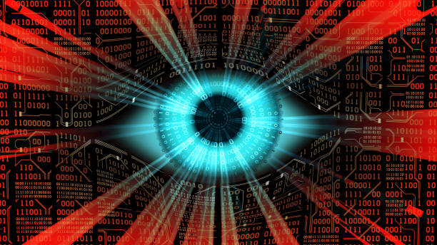 big brother electronic eye concept, technologies for the global surveillance, security of computer systems and networks - big brother orwellian concept stock pictures, royalty-free photos & images