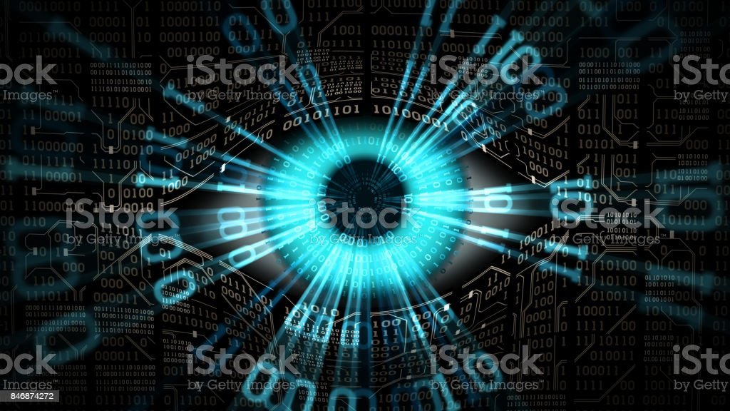 Big brother electronic eye concept, technologies for the global surveillance, security of computer systems and networks - Royalty-free Abstract Stock Photo