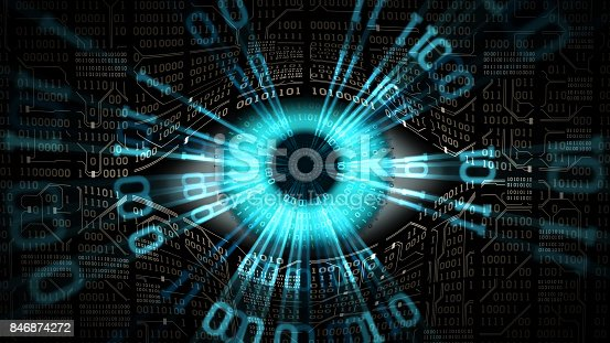 istock Big brother electronic eye concept, technologies for the global surveillance, security of computer systems and networks 846874272
