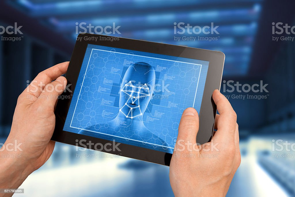 Big brother: facial recognition surveillance system stock photo