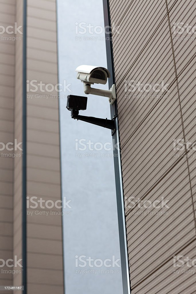 big brother is watching you! security cameras on Contemporary house royalty-free stock photo