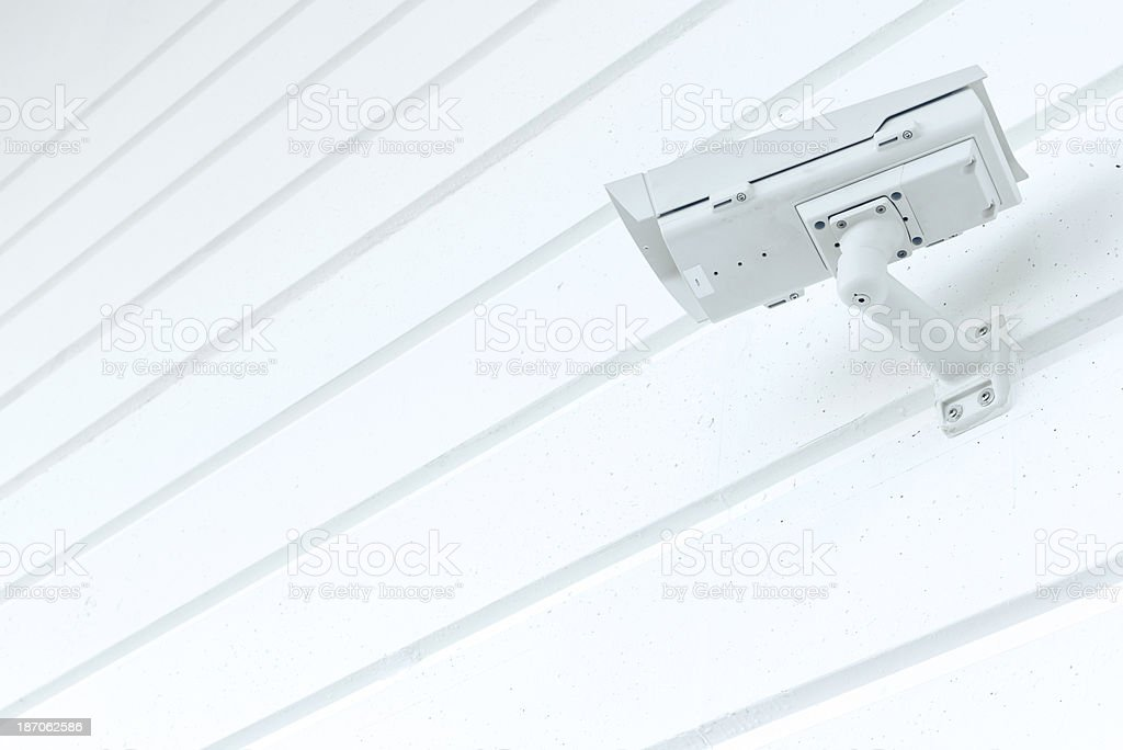 Big Brother Security Camera on White Background Wall stock photo