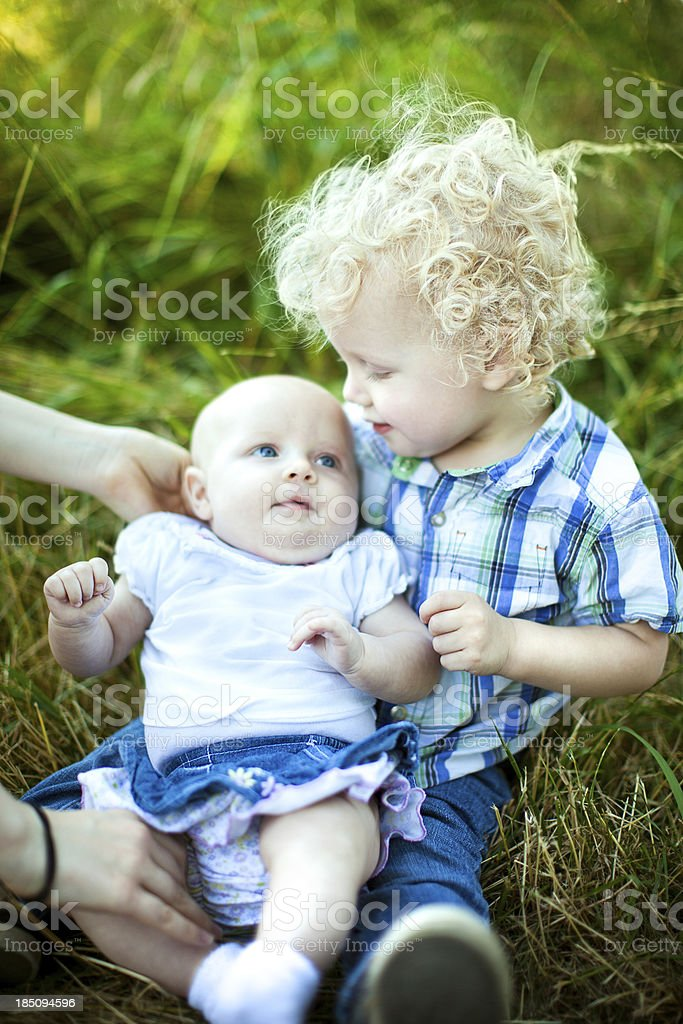 Big Brother With Baby Sister royalty-free stock photo