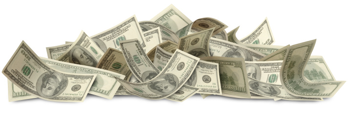 US One Hundred dollar Bills, isolated on white. Clipping Path included. First of three part series.
