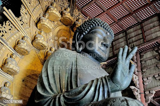 NARA, JAPAN-NOVEMBER 06,2014;Todaiji (Eastern Great Temple), is Nara's most popular tourist attraction and listed as a UNESCO World Heritage Site. Big Buddha is one of the largest bronze statues in the world.