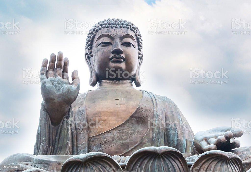 Big Buddha closeup statue in Hong Kong stock photo