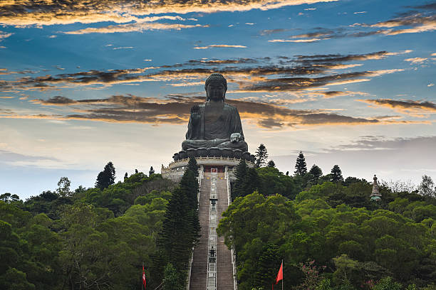 Big Buddha Ngong Ping Lantau Island Tian Tan Buddha, also known as the Big Buddha, is a large bronze statue of Buddha Shakyamuni, completed in 1993, and located at Ngong Ping, Lantau Island, in Hong Kong.  new territories stock pictures, royalty-free photos & images