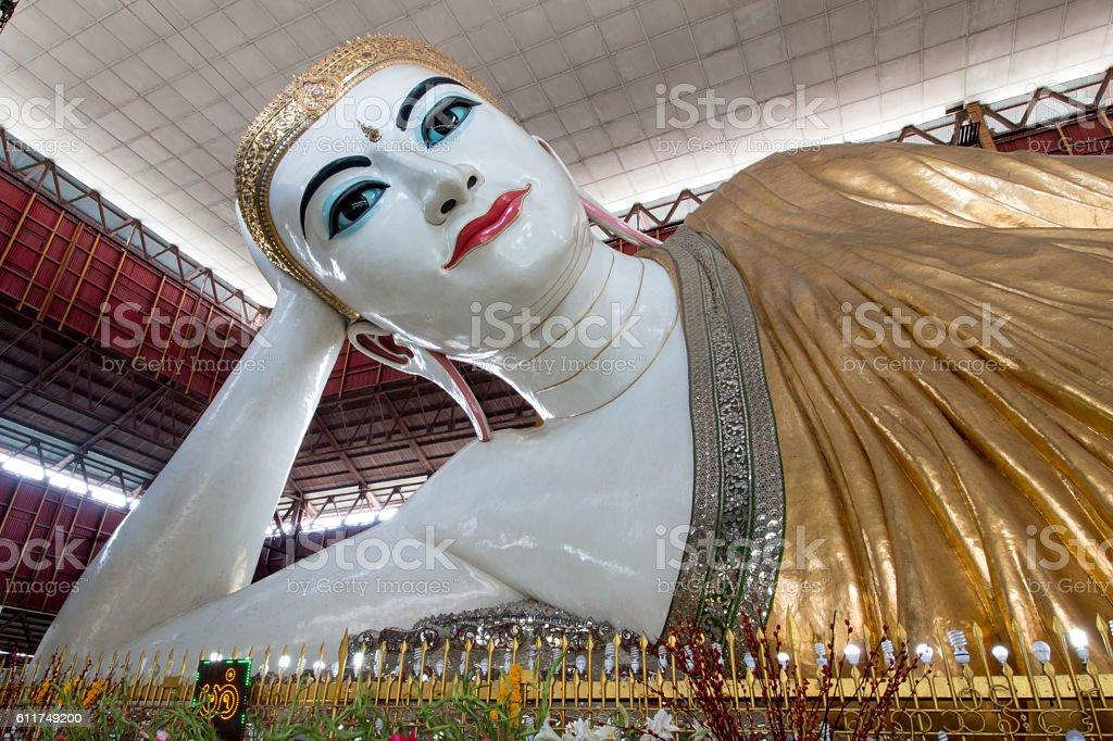 Big Buddha, Shwethalyaung Reclining Buddha reclining buddha in Yangon. stock photo