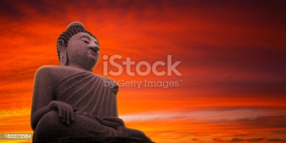 Large Buddha statue in Phuket at sunset. Stitched panorama made from several 1Ds MkIII frames. 90mm TSE lens.