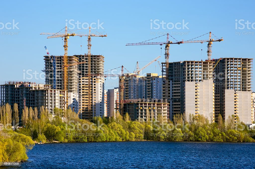 Big building of inhabited city stock photo