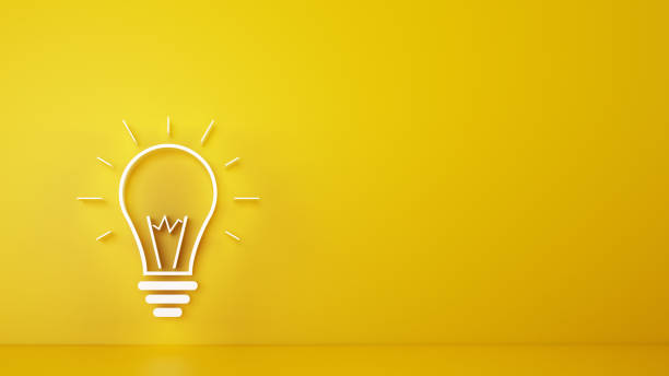 Big bulb light on a yellow background. 3D Rendering Concept of ingenious and brilliant intuition. 3D Rendering ideas stock pictures, royalty-free photos & images