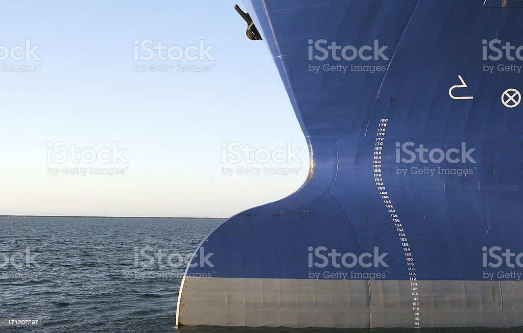 Big Bulbous Bow of OIl Tanker stock photo