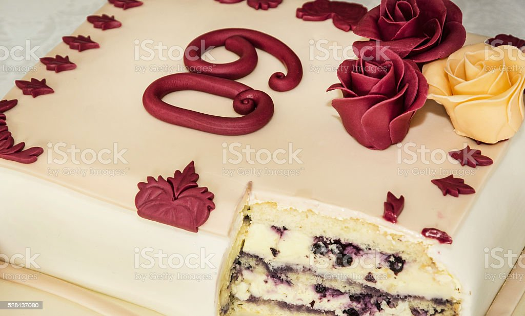 Big cake for 60th birthday, symbolic food stock photo