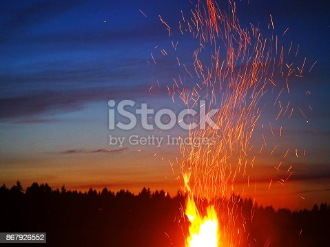 Big campfire on the background of red sunset and coniferous forest. Night fire, bonfire sparks