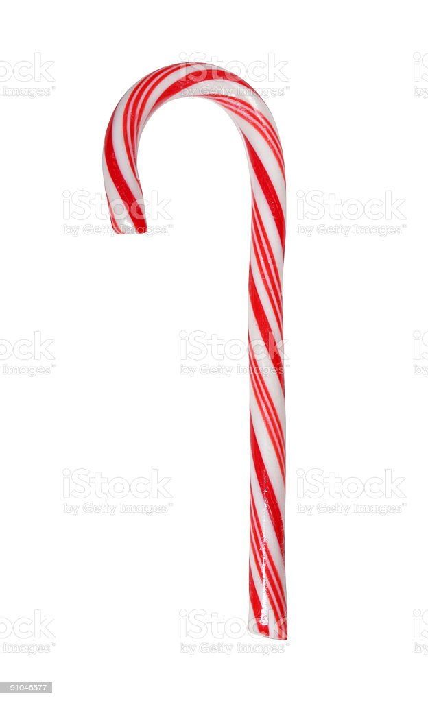 Big candy cane isolated with path royalty-free stock photo