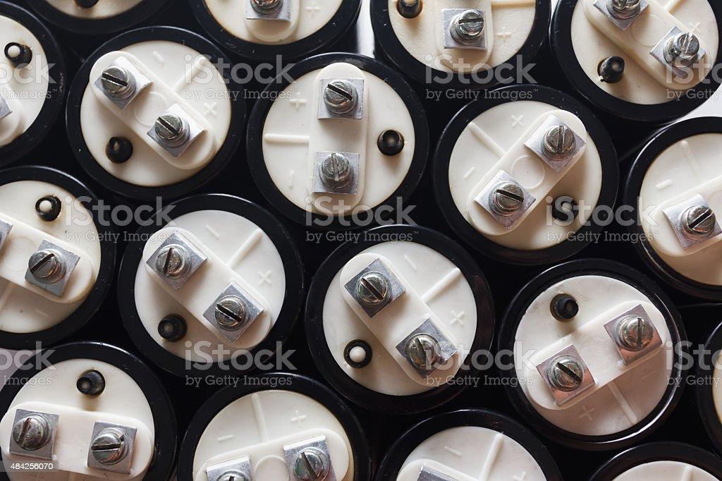 big capacitors, electronic component stock photo