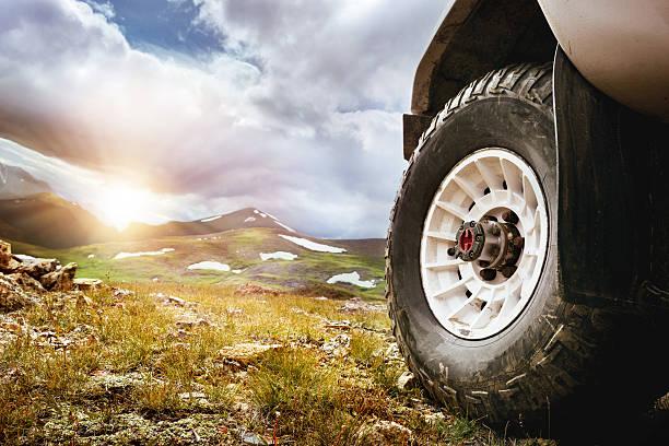 big car wheel offroad concept - altai nature reserve stockfoto's en -beelden