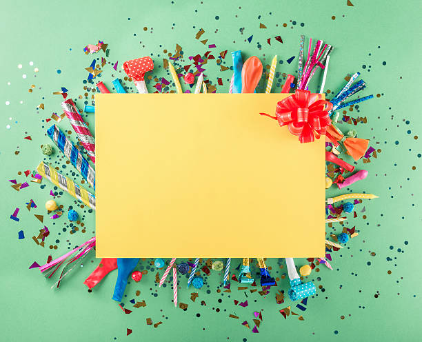big card with party confetti, balloons, streamers, noisemakers a - anniversary stock photos and pictures