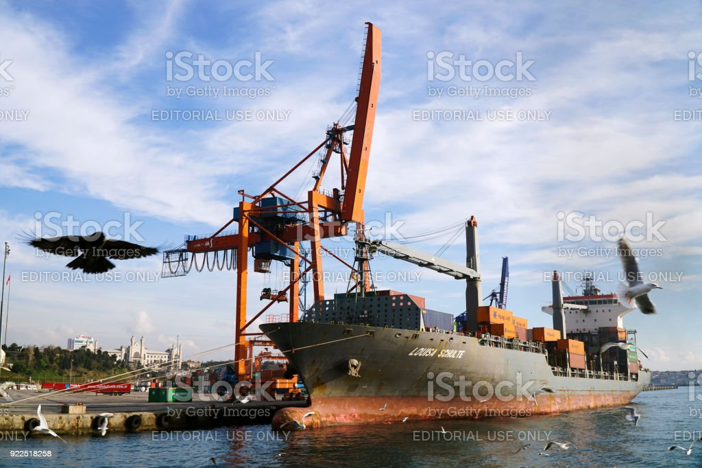 Big cargo ship named as Louisa Schulte at The Port Of Haydarpasa at Istanbul stock photo