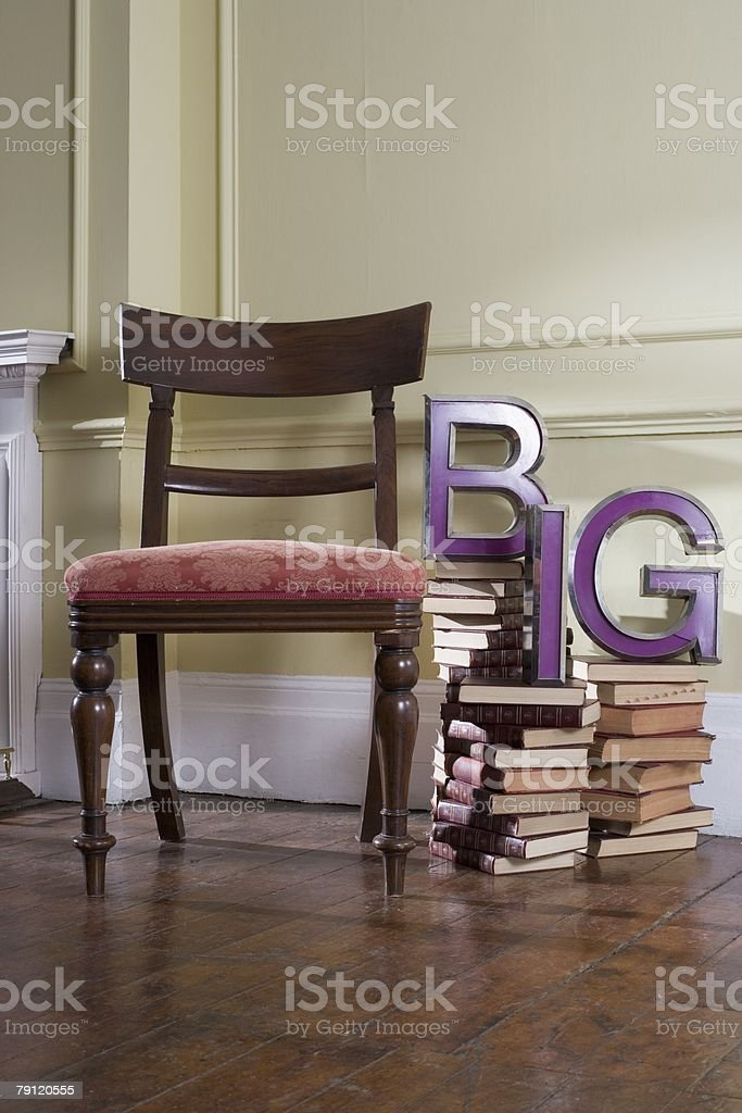 Big chair and books royalty-free stock photo