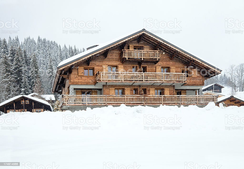 Big chalet in rench Alps stock photo