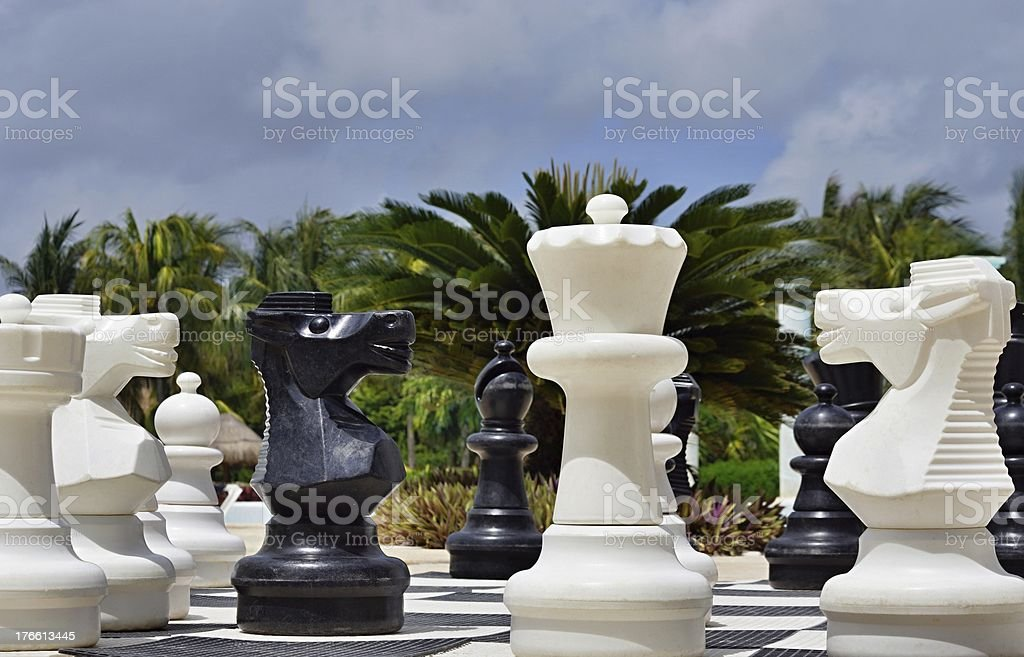Big chess for game on a beach royalty-free stock photo