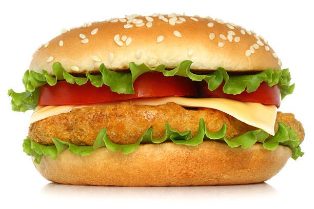 big chicken hamburger - burger and chicken stok fotoğraflar ve resimler